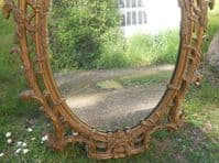 Oval Ornate Gilt Hanging Wall Mirror